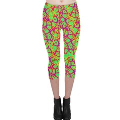 Officially Sexy Neon Green Pink Purple & Yellow Cracked Pattern Capri Leggings  by OfficiallySexy