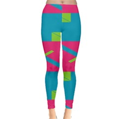 Rectangles And Diagonal Stripes Leggings by LalyLauraFLM