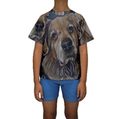 Selfie of A Golden Retriever Kid s Short Sleeve Swimwear