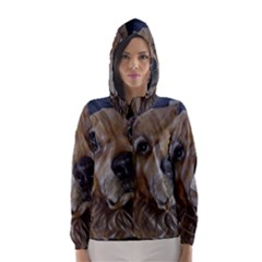 Selfie of A Golden Retriever Hooded Wind Breaker (Women)