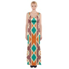 Rhombus Triangles And Other Shapes Maxi Thigh Split Dress by LalyLauraFLM