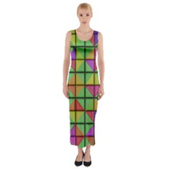3d Rhombus Pattern Fitted Maxi Dress by LalyLauraFLM