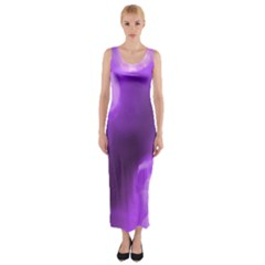 Purple Circles Fitted Maxi Dress