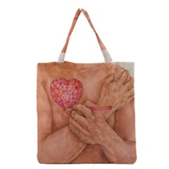 Embrace Love  Grocery Tote Bags by KentChua