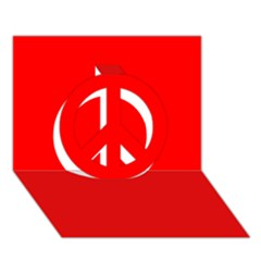 Trendy Red  Peace Sign 3d Greeting Card (7x5)
