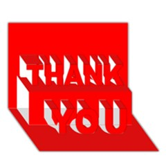 Trendy Red  Thank You 3d Greeting Card (7x5)