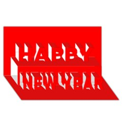 Trendy Red  Happy New Year 3d Greeting Card (8x4)  by Costasonlineshop