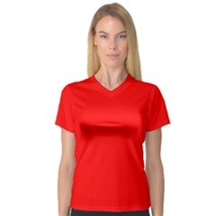 Trendy Red  Women s V Neck Sport Mesh Tee by Costasonlineshop
