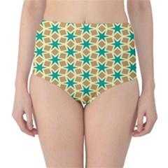 Stars And Squares Pattern High Waist Bikini Bottoms by LalyLauraFLM