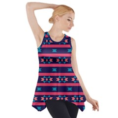 Stripes and other shapes pattern Side Drop Tank Tunic by LalyLauraFLM