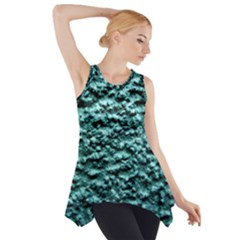 Blue Green  Wall Background Side Drop Tank Tunic