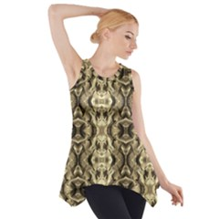 Gold Fabric Pattern Design Side Drop Tank Tunic by Costasonlineshop