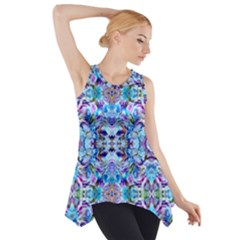 Elegant Turquoise Blue Flower Pattern Side Drop Tank Tunic by Costasonlineshop