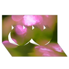 Pink And Green Circles Twin Hearts 3d Greeting Card (8x4)  by timelessartoncanvas