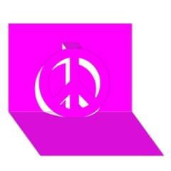 Trendy Purple  Peace Sign 3d Greeting Card (7x5)  by Costasonlineshop