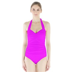 Trendy Purple  Women s Halter One Piece Swimsuit by Costasonlineshop