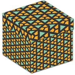 Green Triangles And Other Shapes Pattern Storage Stool by LalyLauraFLM