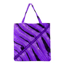 Purple Fern Grocery Tote Bags by timelessartoncanvas