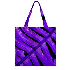 Purple Fern Zipper Grocery Tote Bags by timelessartoncanvas
