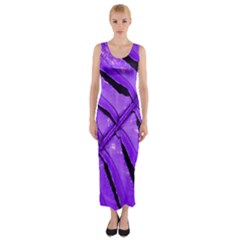 Purple Fern Fitted Maxi Dress by timelessartoncanvas