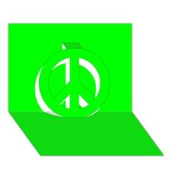 Cool Green Peace Sign 3d Greeting Card (7x5)  by Costasonlineshop