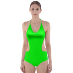 Cool Green Cut Out One Piece Swimsuit