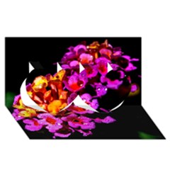 Lantanas Twin Hearts 3d Greeting Card (8x4)  by timelessartoncanvas