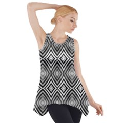 Black White Diamond Pattern Side Drop Tank Tunic by Costasonlineshop