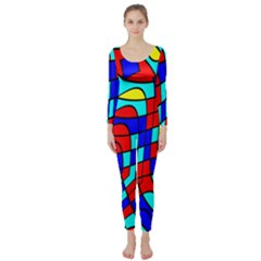 Colorful Bent Shapes  Long Sleeve Catsuit by LalyLauraFLM