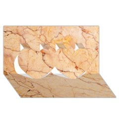 Stone Floor Marble Twin Hearts 3d Greeting Card (8x4)  by essentialimage