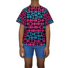 Rhombus and triangles Kid s Short Sleeve Swimwear