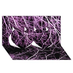 Purple Twigs Twin Hearts 3d Greeting Card (8x4)  by timelessartoncanvas