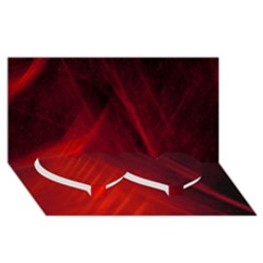 Red Abstract Twin Heart Bottom 3d Greeting Card (8x4)