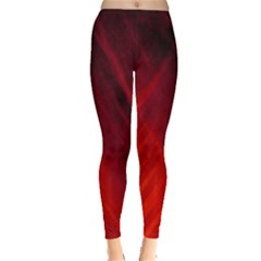 Red Abstract Leggings  by timelessartoncanvas