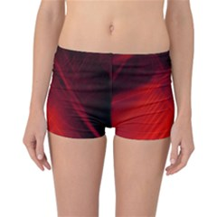 Red Abstract Reversible Boyleg Bikini Bottoms by timelessartoncanvas