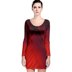 Red Abstract Long Sleeve Velvet Bodycon Dress by timelessartoncanvas