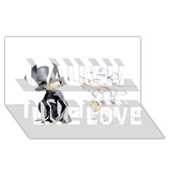 Little Bride And Groom Laugh Live Love 3d Greeting Card (8x4)  by Weddings