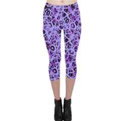 Officially Sexy Light Purple & Black Cracked Pattern Capri Leggings  by OfficiallySexy