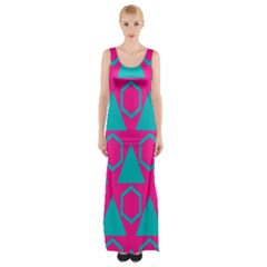 Triangles And Honeycombs Pattern Maxi Thigh Split Dress