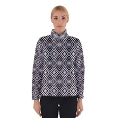 Black White Diamond Pattern Winter Jacket by Costasonlineshop