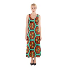 Red Flowers Pattern Full Print Maxi Dress by LalyLauraFLM