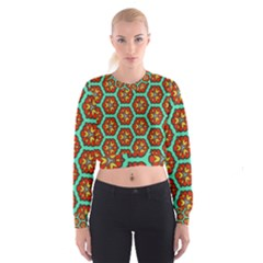 Red Flowers Pattern   Women s Cropped Sweatshirt