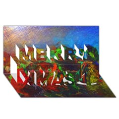 Chicago Park Painting Merry Xmas 3d Greeting Card (8x4)  by bloomingvinedesign