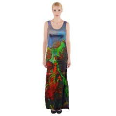 Chicago Park Painting Maxi Thigh Split Dress by bloomingvinedesign