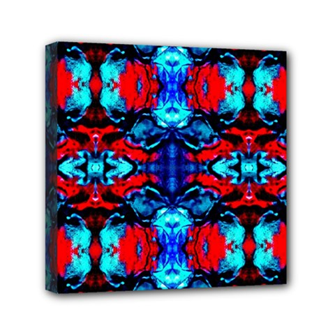 Red Black Blue Art Pattern Abstract Mini Canvas 6  X 6  by Costasonlineshop