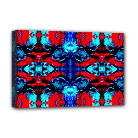Red Black Blue Art Pattern Abstract Deluxe Canvas 18  X 12   by Costasonlineshop