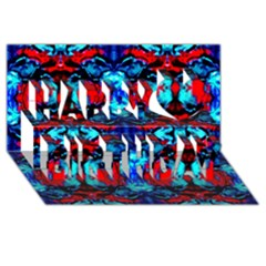 Red Black Blue Art Pattern Abstract Happy Birthday 3d Greeting Card (8x4)  by Costasonlineshop