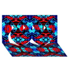 Red Black Blue Art Pattern Abstract Twin Hearts 3d Greeting Card (8x4)  by Costasonlineshop