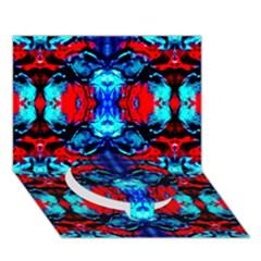 Red Black Blue Art Pattern Abstract Circle Bottom 3d Greeting Card (7x5)