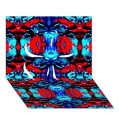 Red Black Blue Art Pattern Abstract Clover 3d Greeting Card (7x5)  by Costasonlineshop